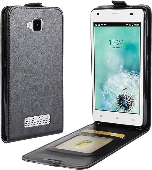 HualuBro Cubot Echo Funda, [Protección todo] Funda de piel sintética con tapa y ranuras para tarjetas para smartphone Cubot Echo, compatible con Cubot Echo (fabricado en Piel sintética.), color negro: Amazon.es: Electrónica