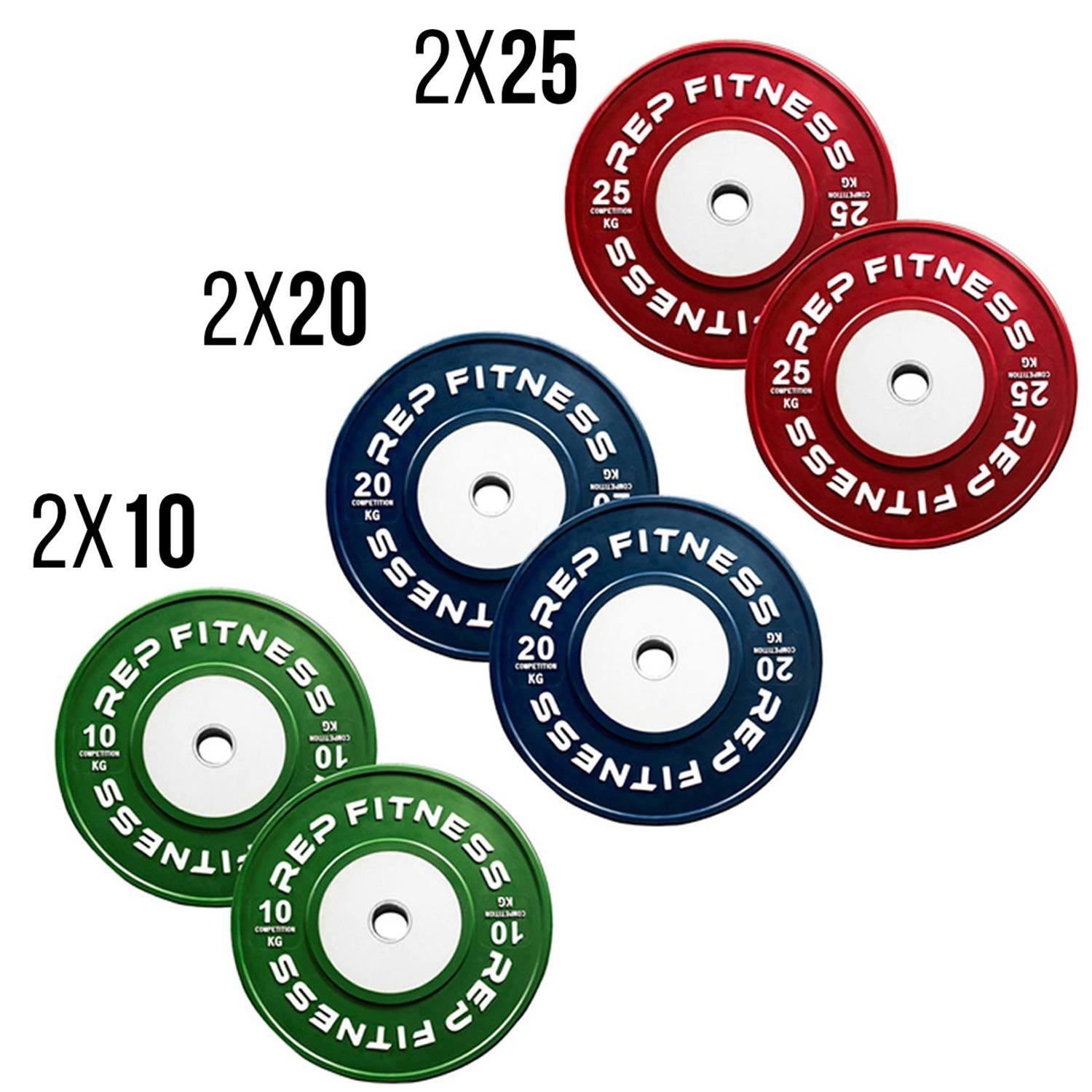 Rep kg Competition Bumper Plates for Olympic Weightlifting, 110kg Set