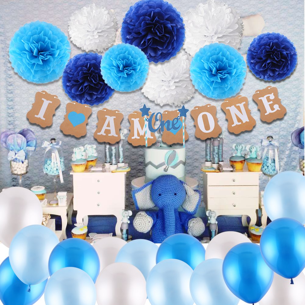 """15 Balloons with Ribbon for Boy Birthday Supplies Blue I AM ONE Bunting Banner Cake Bunting Topper /""""One/"""" 9 Tissue Paper Flowers VEYLIN 1st Birthday Decorations for Baby Boys in Blue Kit"""