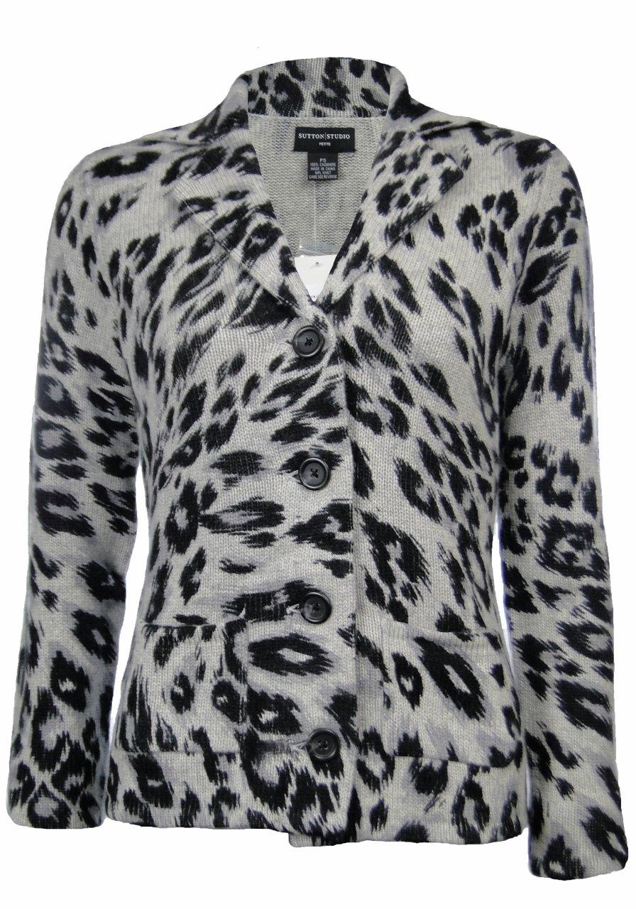 Sutton Studio Women's 100% Cashmere Leopard Sweater Jacket XL by Sutton Studio