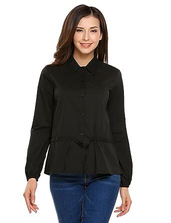 662bd84e7144f3 Zeagoo Womens Long Sleeve Casual Button-Down Shirt Solid Blouse Drawstring  Waist Tops