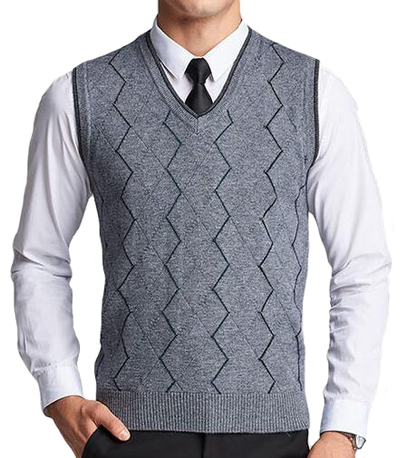 DD.UP Men's Casual Slim Fit Knit V-Neck Argyle Pattern Wool Sweater Vest