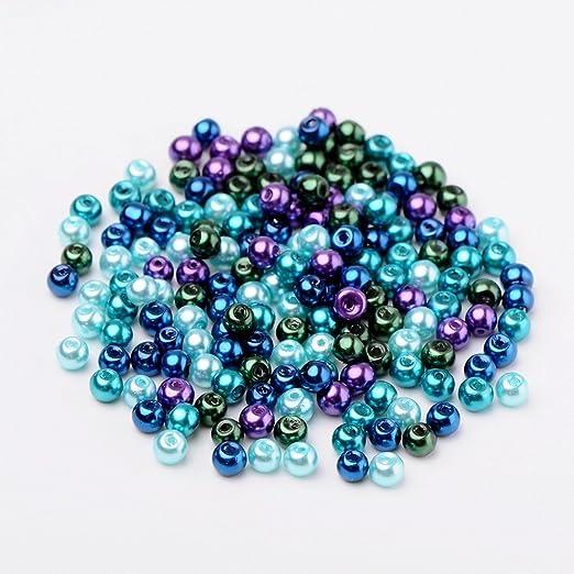 Pandahall 400 Pcs Perlas de Cristal Nacarado, Cuentas de Pulsera Collar Pendientes, Tonos Caramelo, Color Mezclado, Océano, Diámetro: 4 mm, Agujero: 1mm: ...