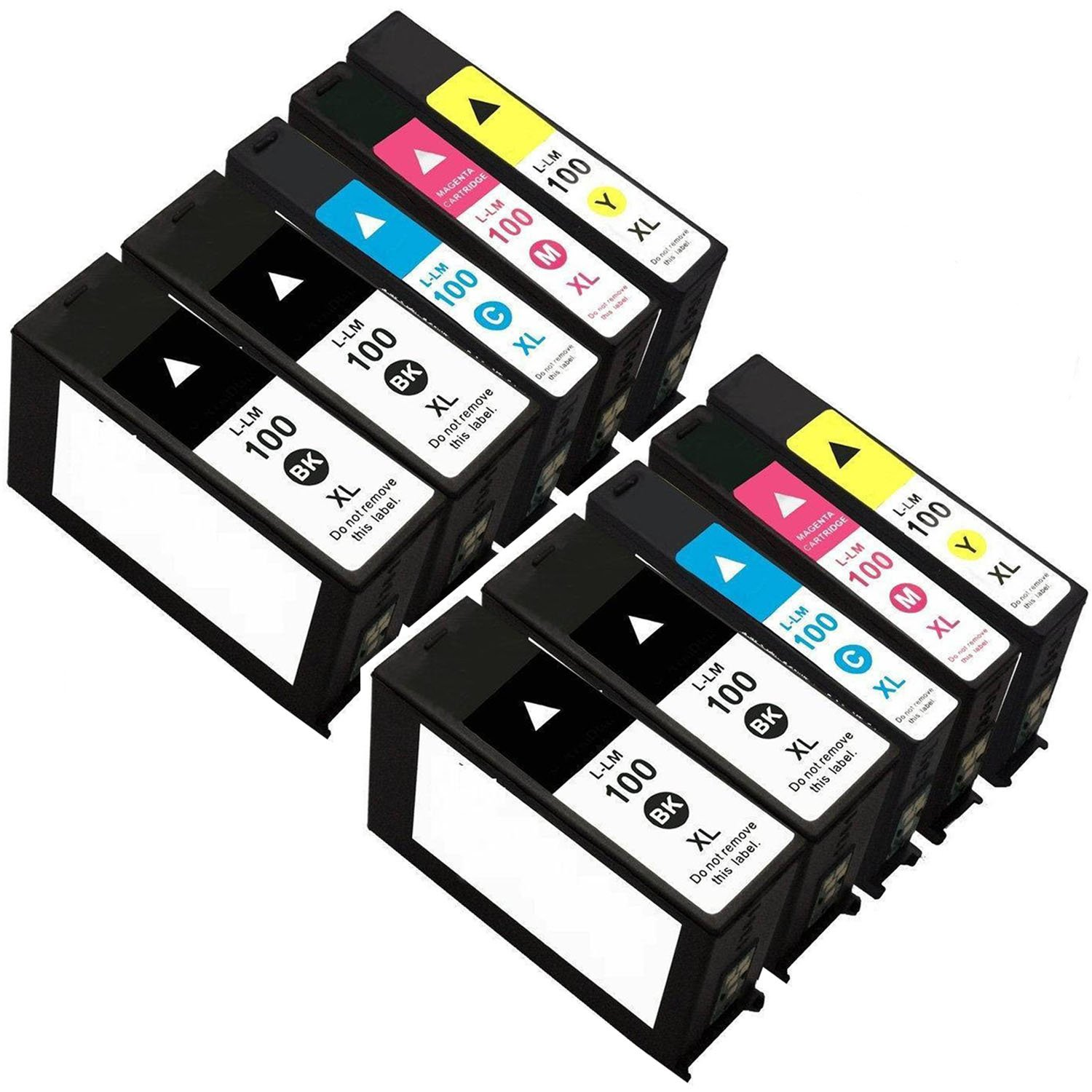 ZR-Printing ZR100XL Ink Cartridge Replacement for Lexmark 100 105 108 XL LM100 ink Cartridge Compatible for S305 S308 S405 S408 S505 S508 S605 S608 Printer with chip(4 Black 2 Cyan 2 Megenta 2 Yellow)