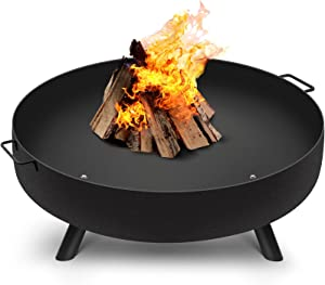 Amagabeli Fire Pit Outdoor Wood Burning Fire Bowl 30in with A Drain Hole Fireplace Extra Deep Large Round Cast Iron Outside Backyard Deck Camping Beach Heavy Duty Metal Grate Rustproof Black