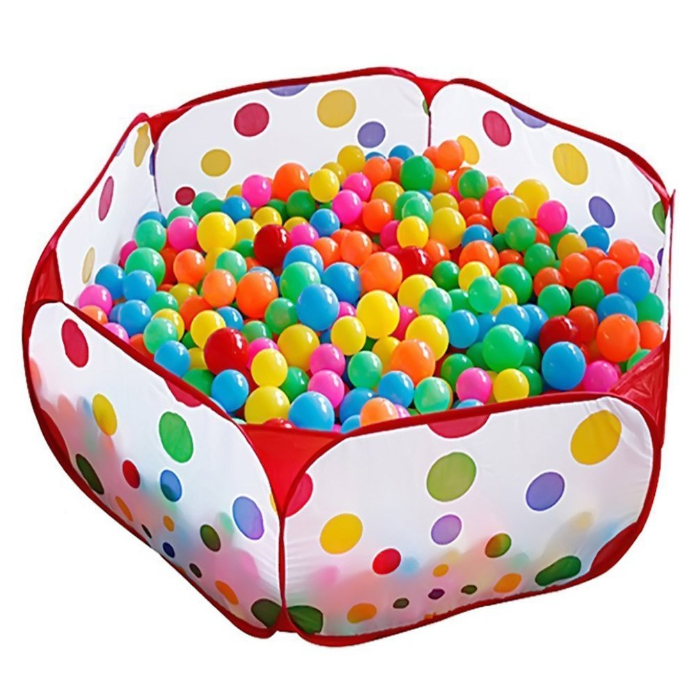 KUUQA Kids Ball Pit Ball Tent Toddler Ball Pit with Red Zippered Storage Bag for Toddlers Pets 39.4-inch by 19.7-Inch (Balls not Included) KQ001