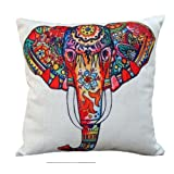 Amazon Price History for:CoolDream Cotton Linen 18 by 18-Inch Decorative Throw Pillow Cover, Multicolor Elephant