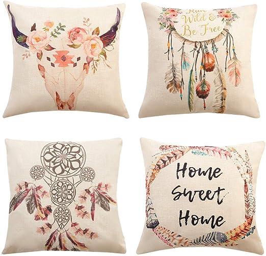 Gspirit 4 Pack Atrapasueños Bohemia Algodón Lino Throw Pillow Case Funda de Almohada para Cojín 45x45 cm: Amazon.es: Hogar