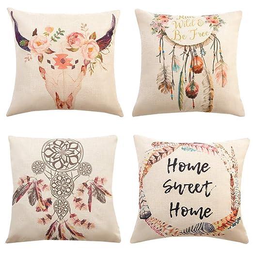 Gspirit 4 Pack Atrapasueños Bohemia Algodón Lino Throw Pillow Case Funda de Almohada para Cojín 45x45 cm