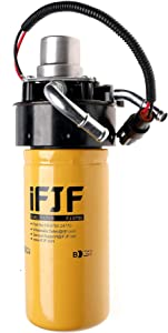 iFJF 1R-0750 Fuel Filter and Adapter Refit Head and 12642623 Fuel Filter Head with Pump Replacement for GM Duramax Chevy/GMC V8 6.6L 2004-2013 Diesel Engine Replaces TP3018 Fuel Filter