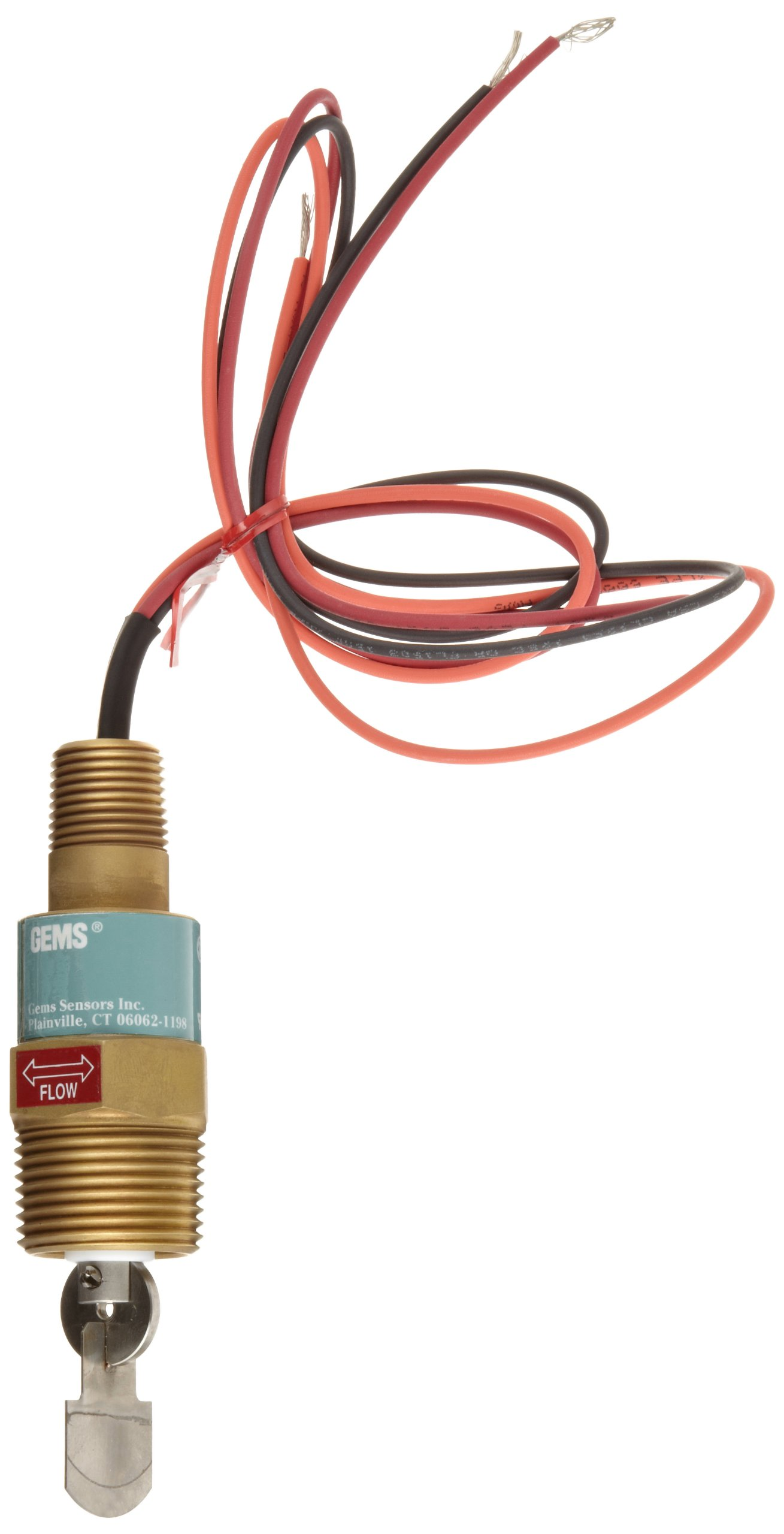 Gems Sensors FS-550 Series Brass High Pressure Flow Switch, Paddle Type, 15.0 - 52.0 gpm Flow Setting Adjustment Range, 1'' NPT Male