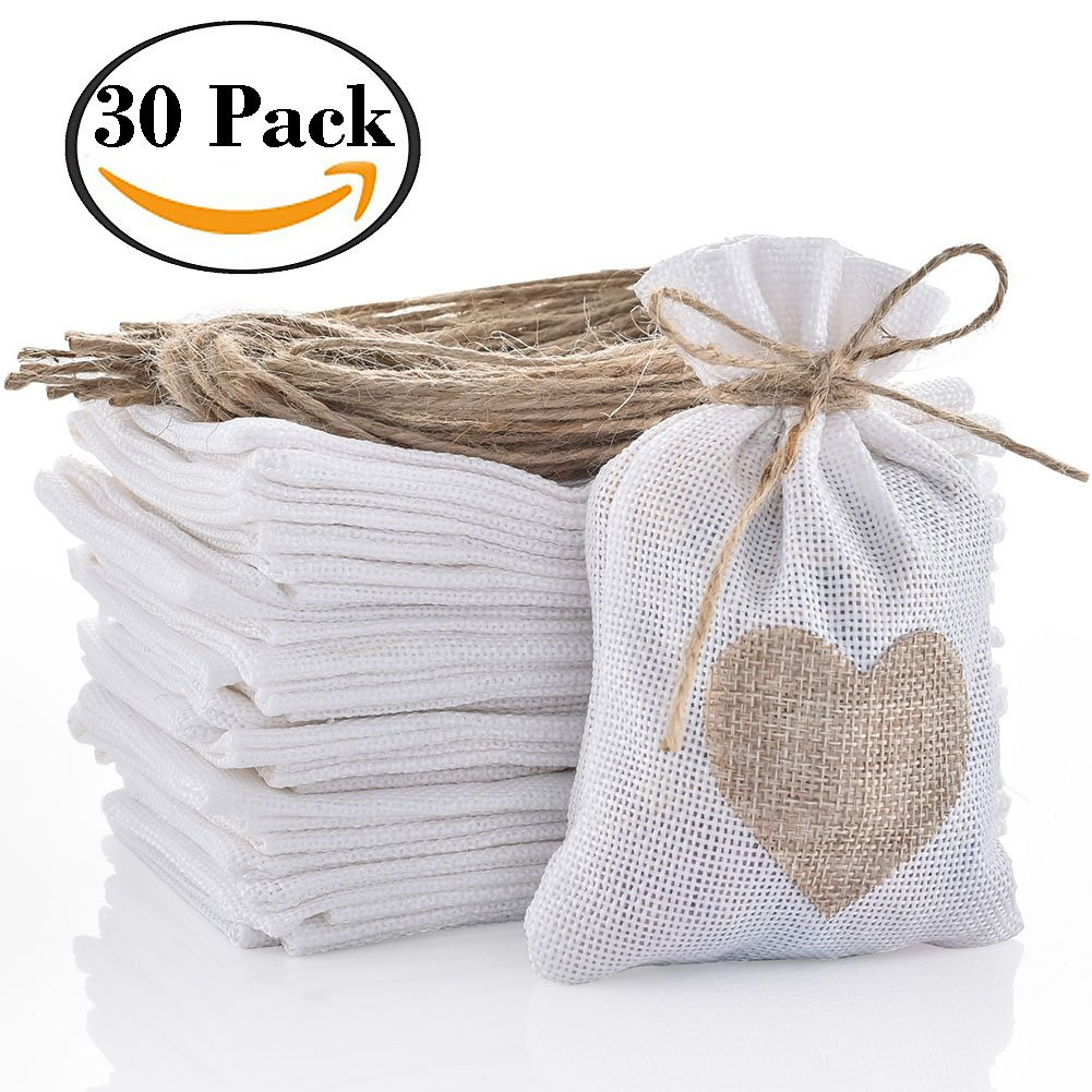 Amazon.com: handrong 30pcs Burlap Bags Gift Pouches Heart Small ...