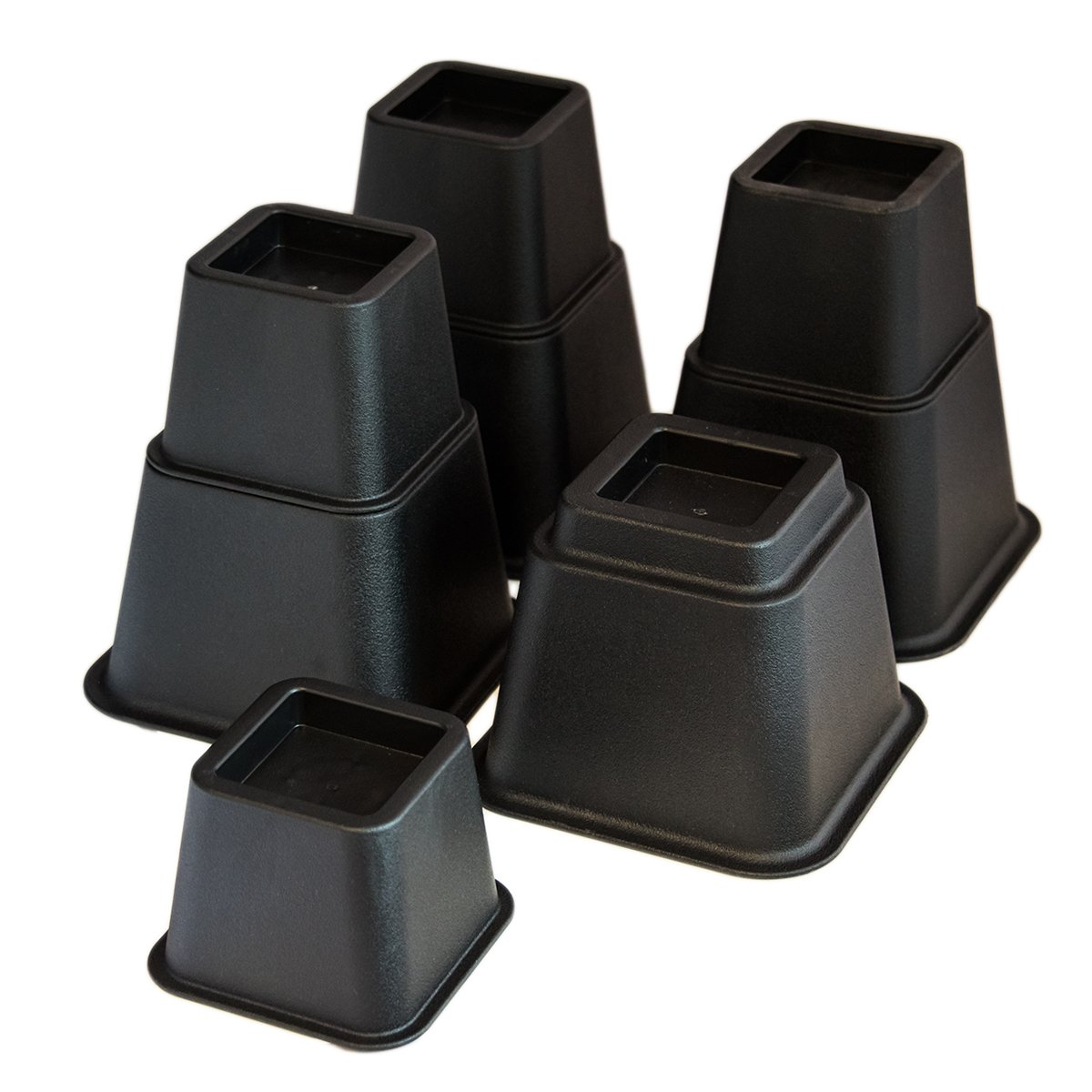 KCT 8 Piece Black Plastic Stackable Bed Furniture Riser