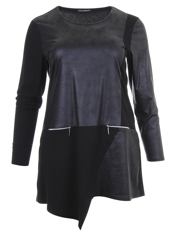 Longshirt in Leder-Optik in schwarz in Übergrößen (44, 48) von Doris Streich