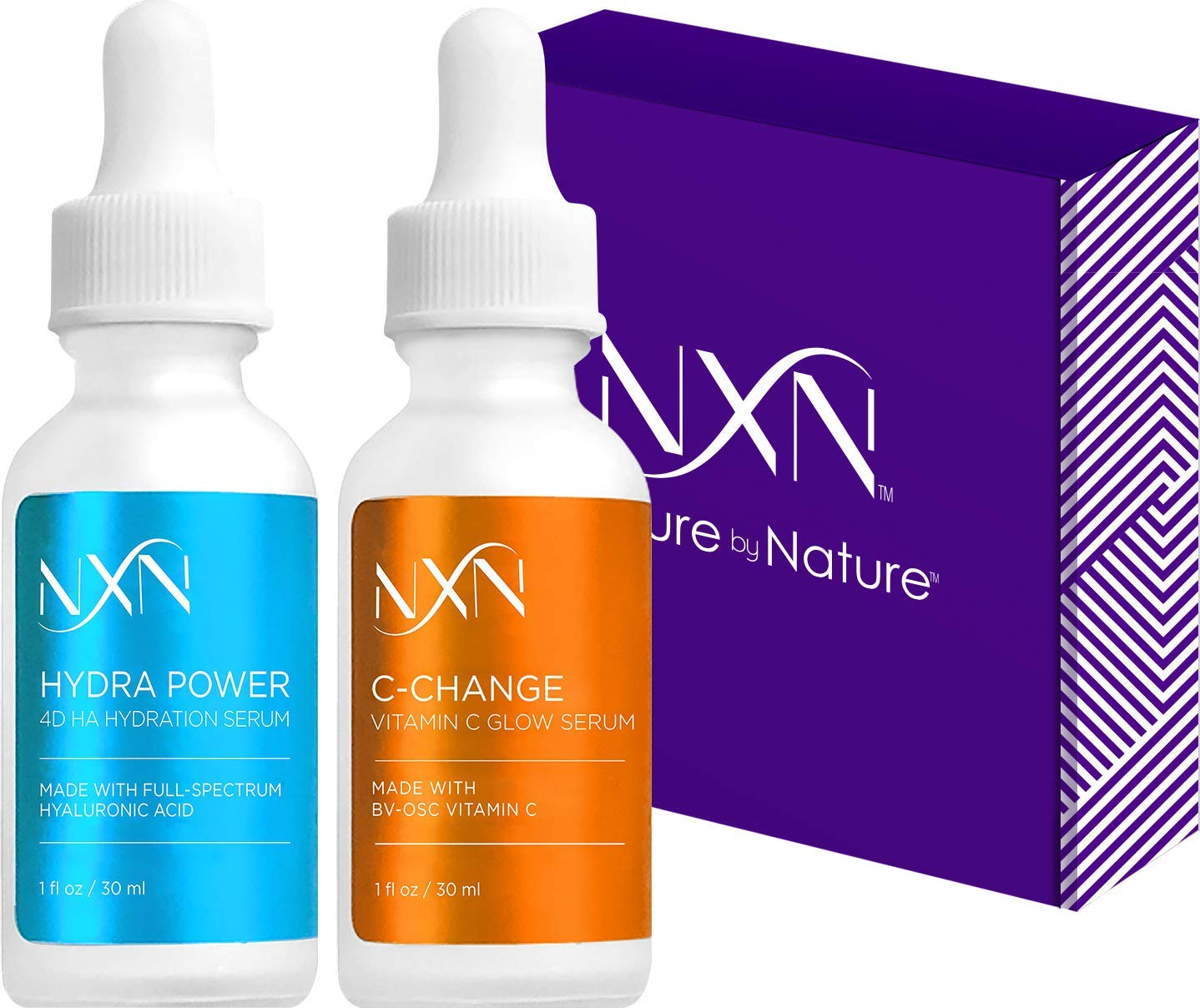 NxN Vitamin C Serum and Hyaluronic Acid Serum Doe With Pro BV-OSC, Clinically Proven to maximize absorption, increase hydration, brighten skin, reduce dark spots, fine lines and wrinkles 1fl oz each by Nurture by Nature