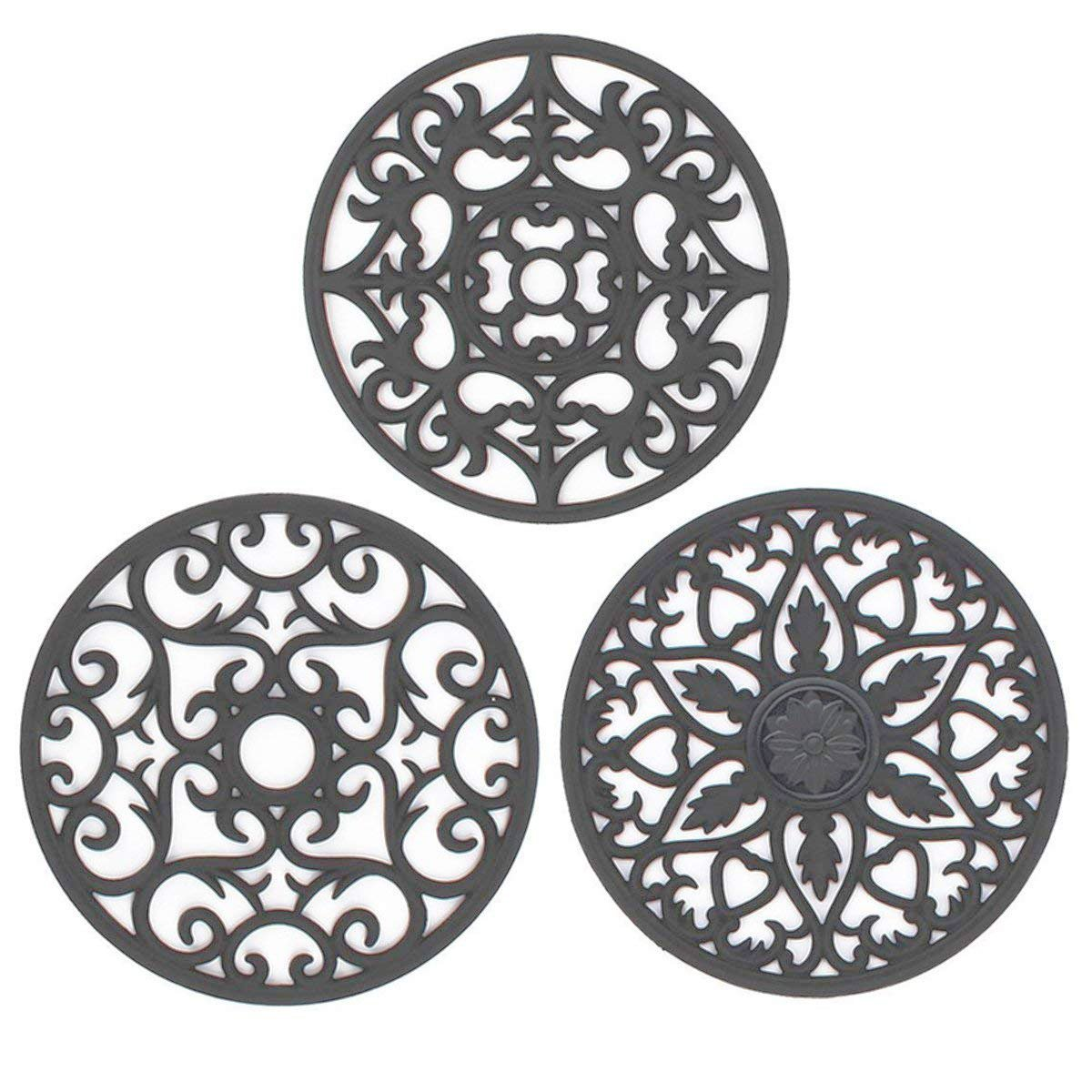 IPHOX 3 Set Silicone Multi-Use Intricately Carved Trivet Mat for Hot Dishes Kitchen Mats, Table Mats, Bowl Mats, Dish Mats and Coasters Insulated Flexible Durable Non Slip Coasters Hot Pads(Gray)