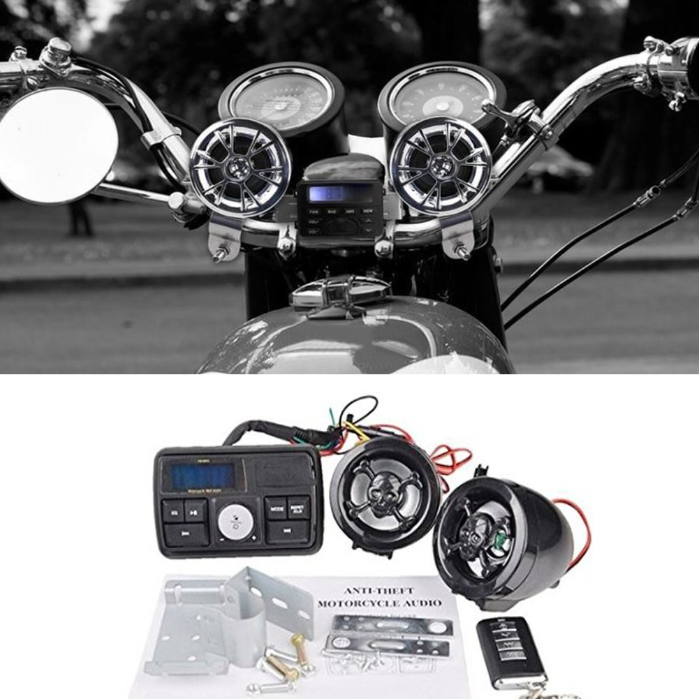 KaTur Motor USB Audio FM TF MP3 Handlebar Stereo 2 Speaker Amplifier Sound System Alarm Motorcycle Motorbike Anti-Theft