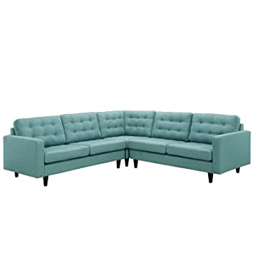 Modway Empress Mid-Century Modern Upholstered Fabric Sectional Sofa Set In Laguna  sc 1 st  Amazon.com : sectional sofa amazon - Sectionals, Sofas & Couches