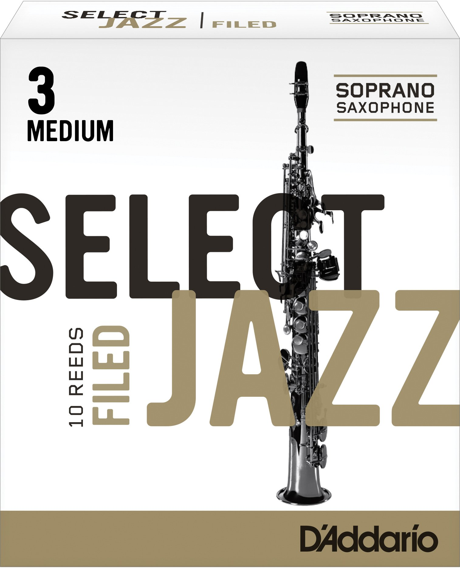 Rico Select Jazz Soprano Sax Reeds, Filed, Strength 3 Medium, 10-pack
