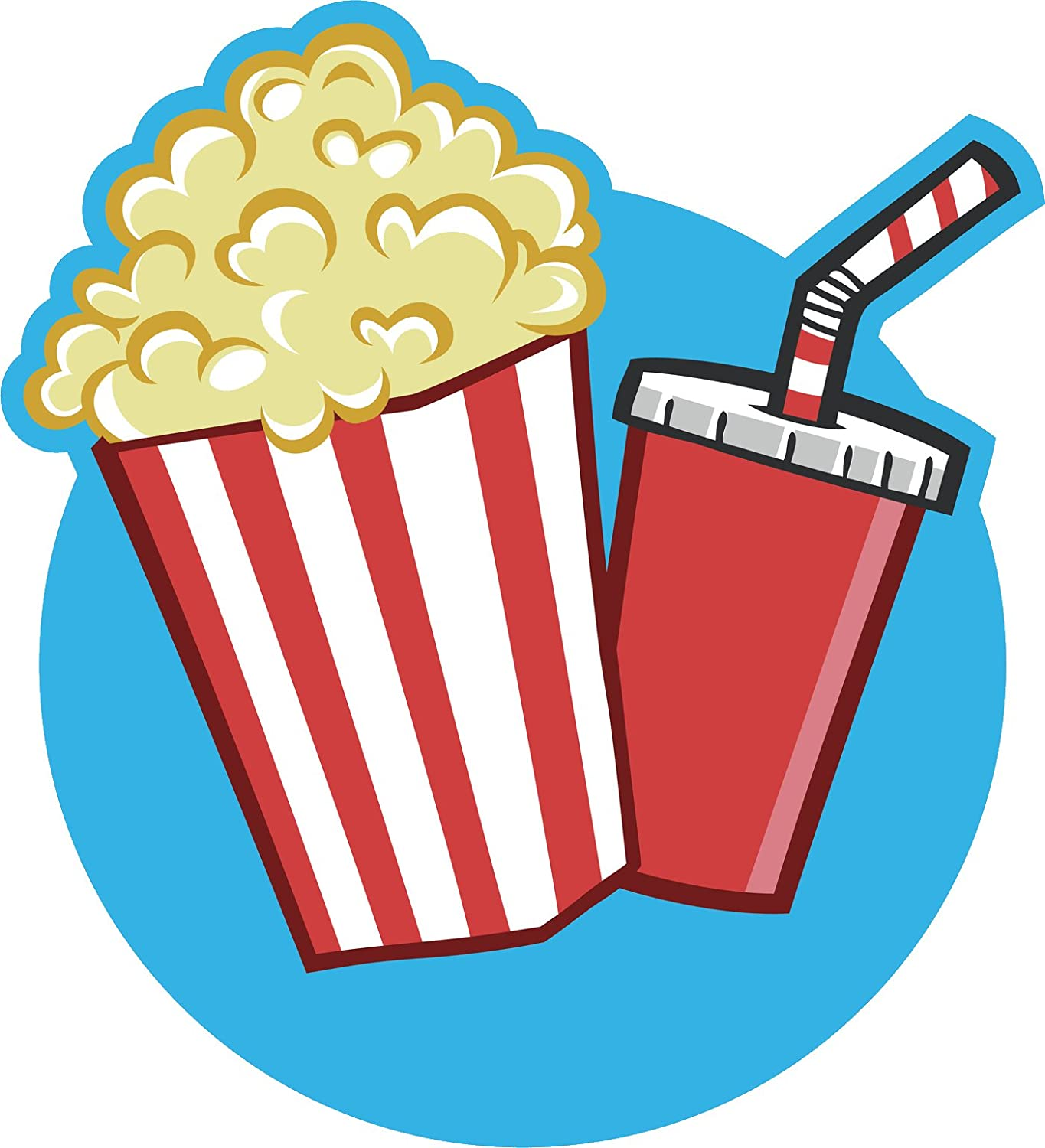 Amazon Com Retro Cute Movie Theater Popcorn Soda Cartoon Icon Vinyl Sticker Automotive