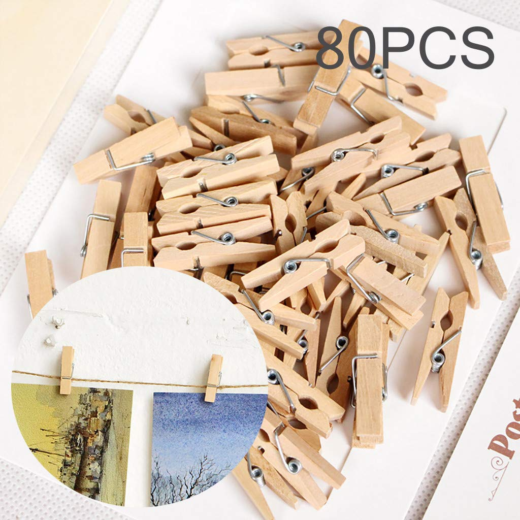 SUGEER 80pcs Wood Clothespins Mini Colored Natural Wooden Clips Photo Clips Natural Wooden Peg Pin Compatible Gift Wrapping, Picture Hanging, Arts&Crafts, Photo Display