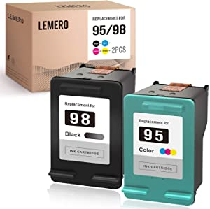 LEMERO Remanufactured Ink Cartridge Replacement for HP 95 95XL 98 98XL to use with Officejet 150 100 H470 Photosmart 8030 6305 (Black, Tri-Color, 2-Pack)