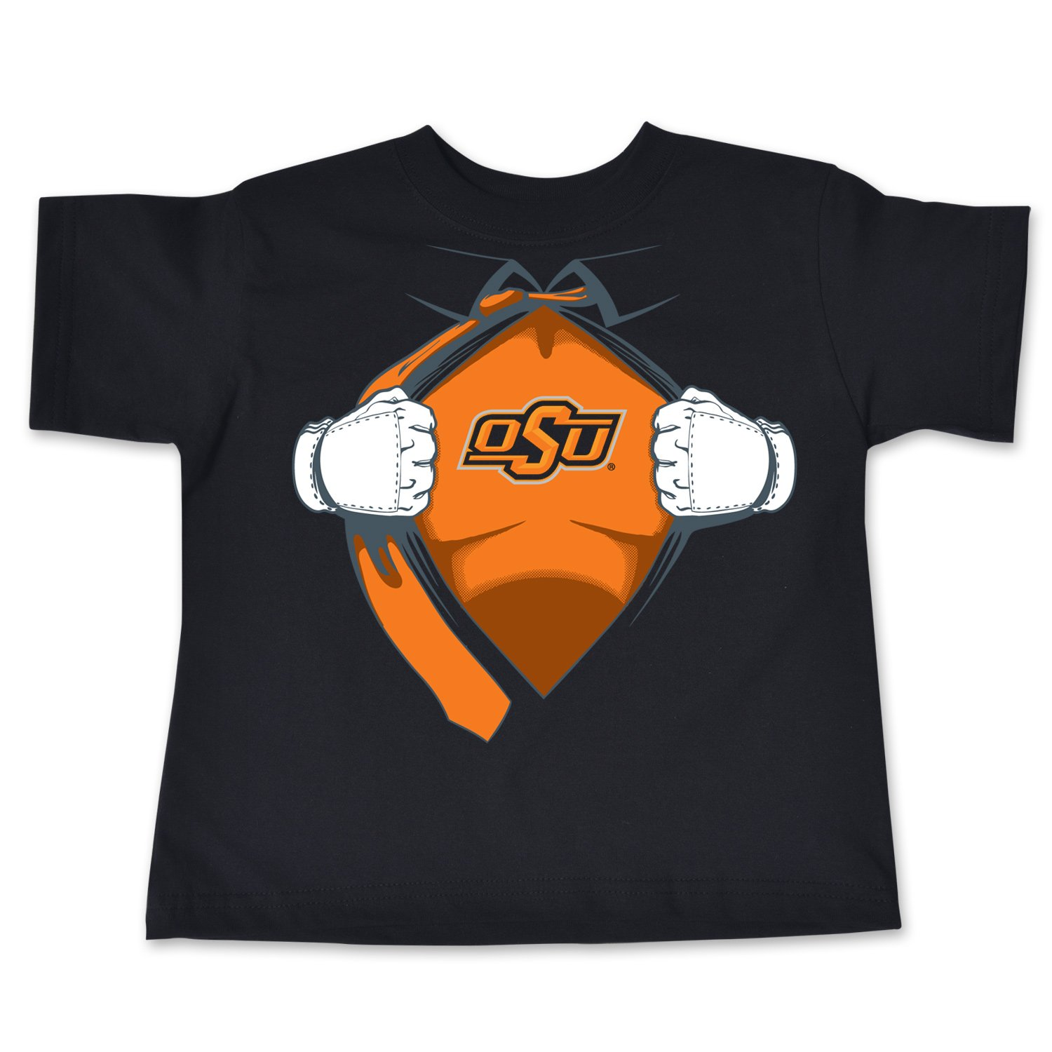 Black 4 College Kids NCAA Oklahoma State Cowboys Children Short Sleeve Toddler Tee Superhero Sports Fan T Shirt