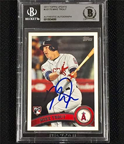 Mike Trout Signed 2011 Topps Update Rc Rookie Card Bgs Bas