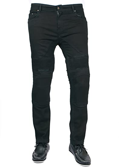 e254a9b73c Men's Motorbike Motorcycle Skinny Slim FIT Denim Jeans with Protective  Lining - Jet Black W36 L32