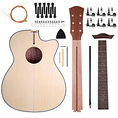Acoustic Steel Strings Guitar Make Your Own Guitar DIY Guitar Kits 40 Inch for Music Lover (Basswood): Musical Instruments