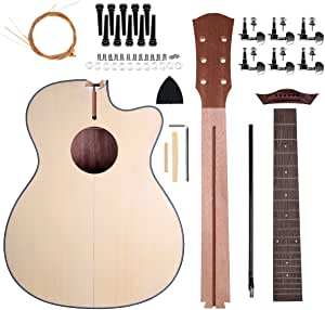 Acoustic Steel Strings Guitar Make Your Own Guitar DIY Guitar Kits 40 Inch for Music Lover (Basswood)