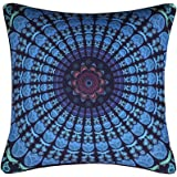 Sleepwish Moonlight Mandala Pillow Cover Bohemia Design Pillowcover Case Protector Dark Blue Decorative Square Pillowcase 18x18 Inches (5)