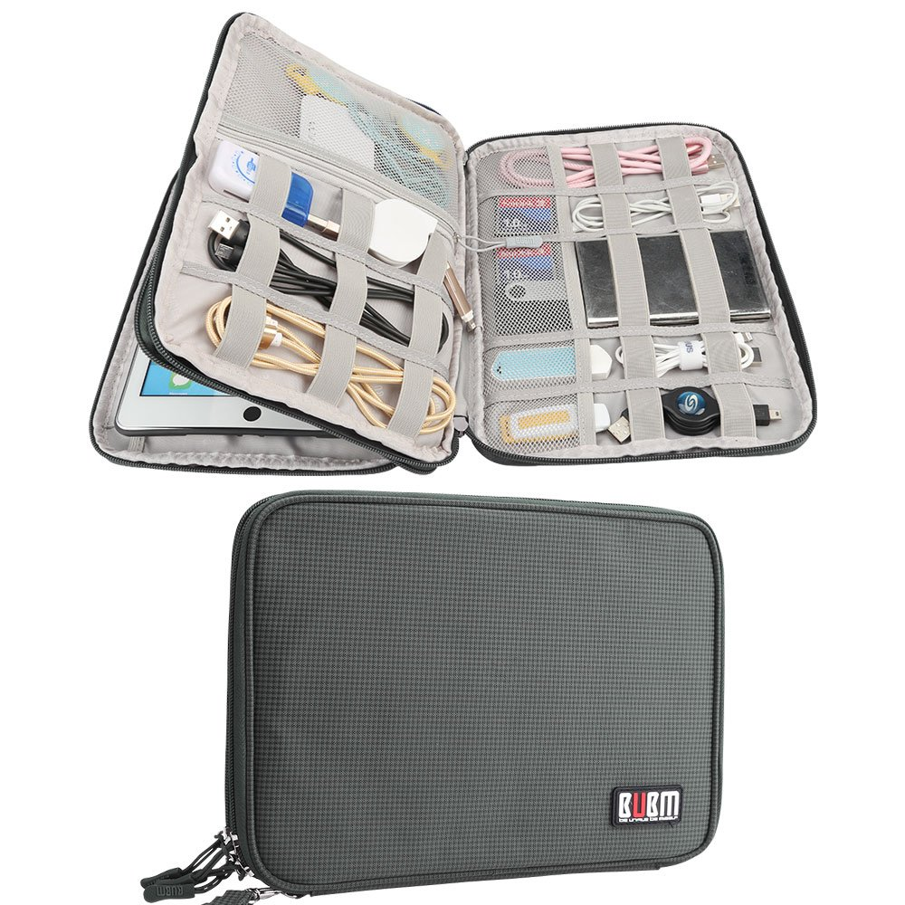 Electronics Accessories Organizer BUBM Travel Cable Bag Cord Gadgets Organizer for IPad-Olive Green