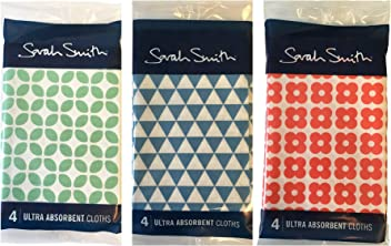 Sarah Smith Mixed Pattern Ultra Absorbent Cloths x 12 (4 red+4blue+4green)