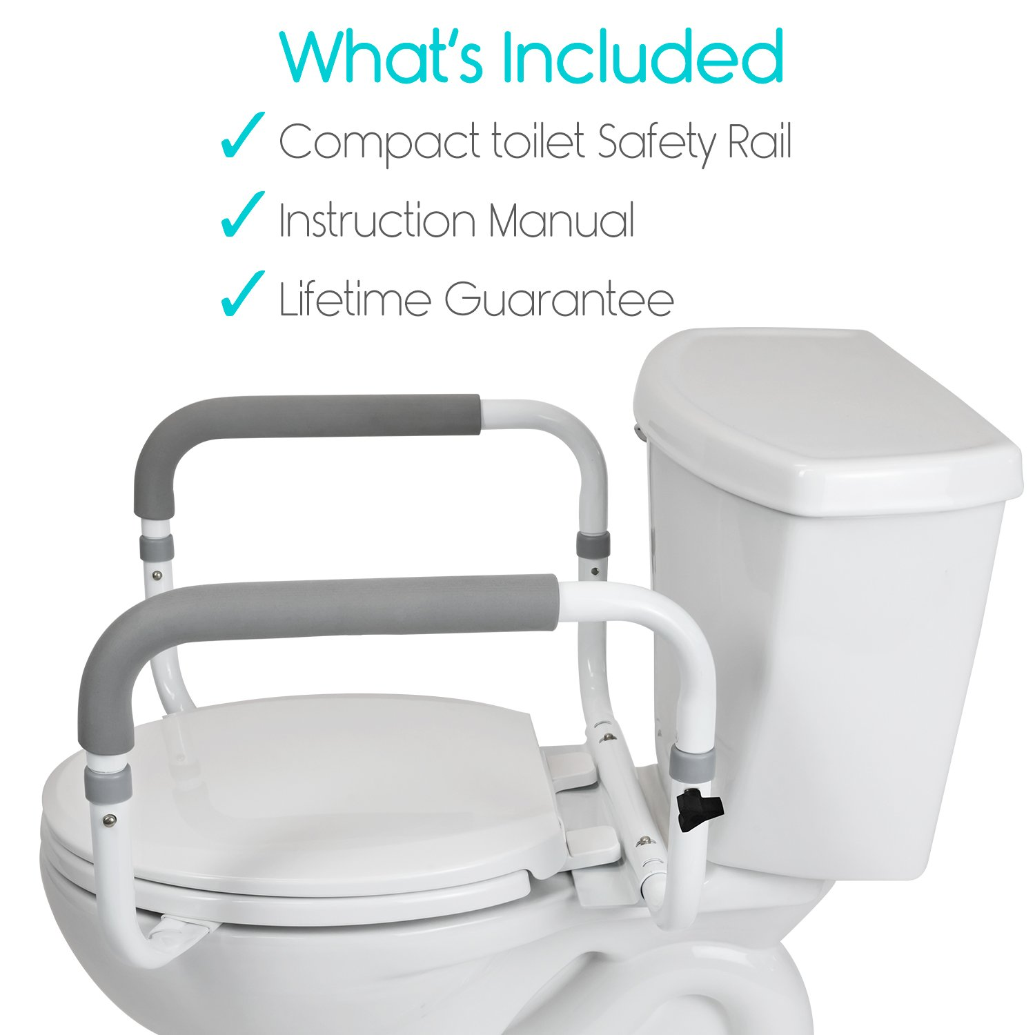 Toilet Safety Frame by Vive - Adjustable, Compact Support Hand Rails ...