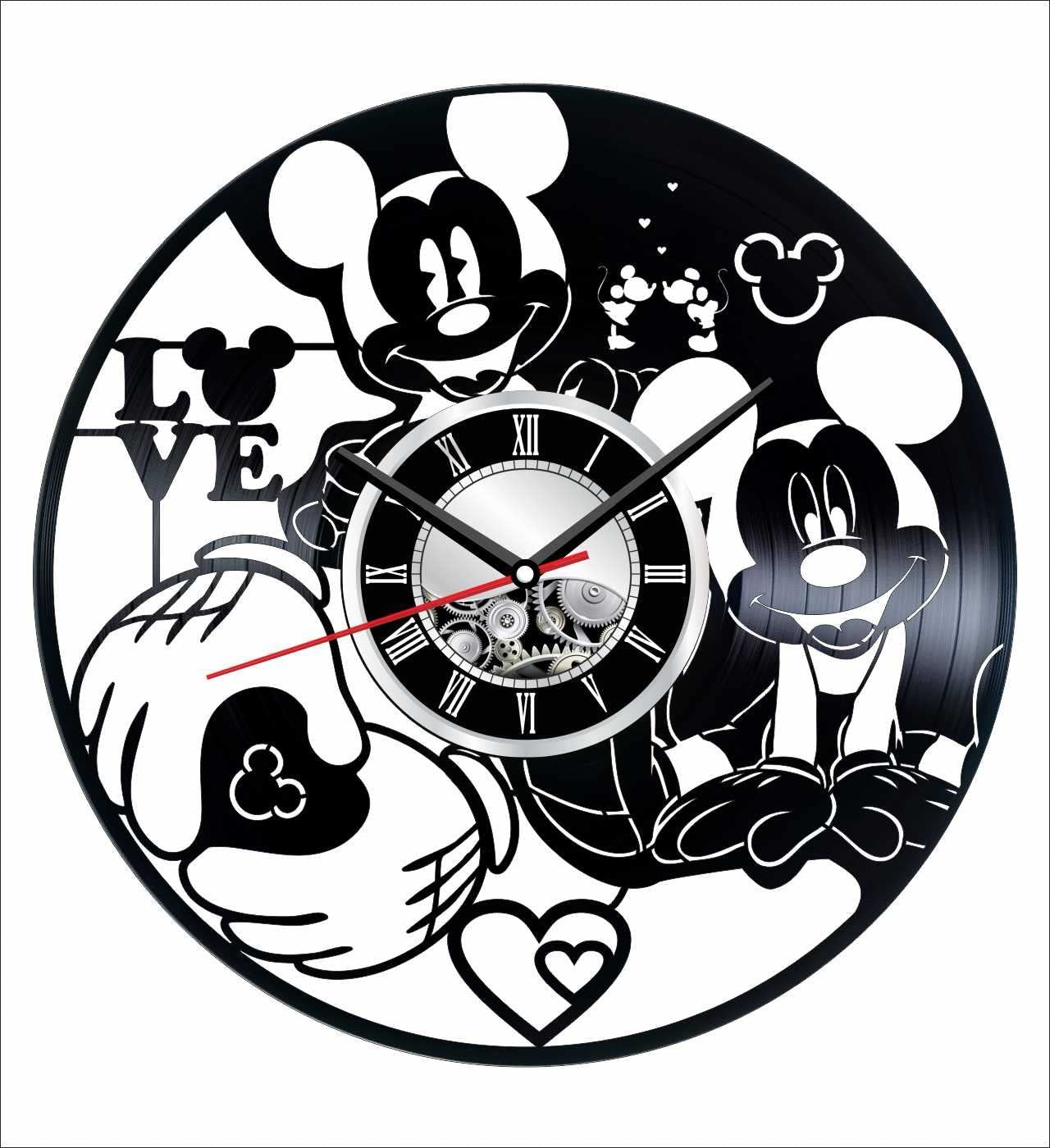 Mickey Mouse Wall Clock Made of Vintage Vinyl Records – Stylish Clock and Amazing Gifts Idea Unique Home Decor Personalized Presents for Men Women Kids Great for Living Room Bedroom Kitchen