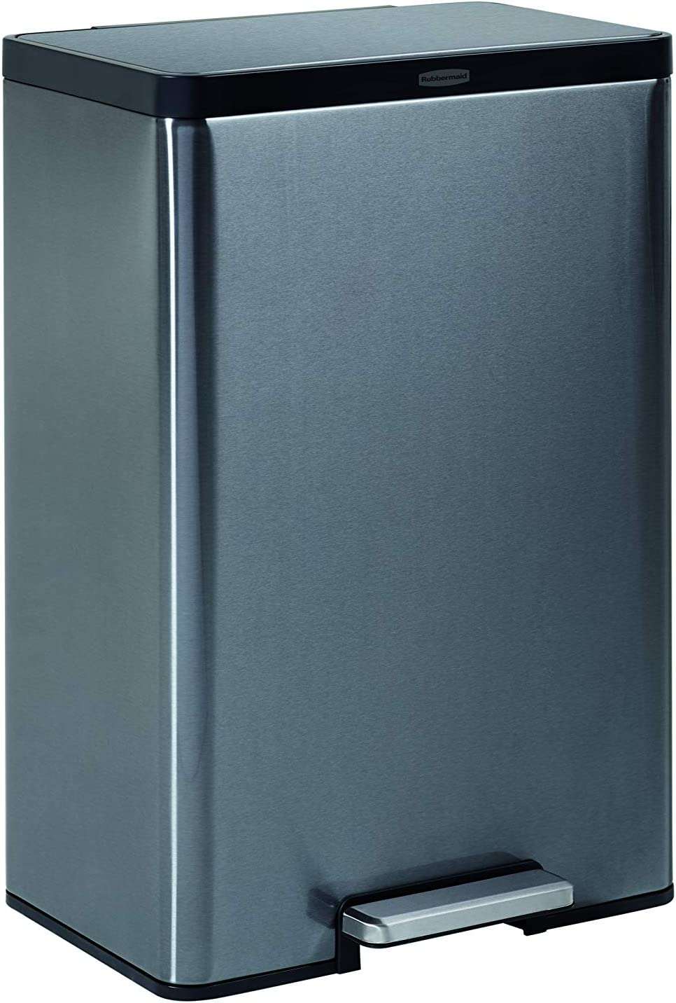 Rubbermaid Stainless Steel Metal Step-On 12G Trash Can for Home and Kitchen, Charcoal