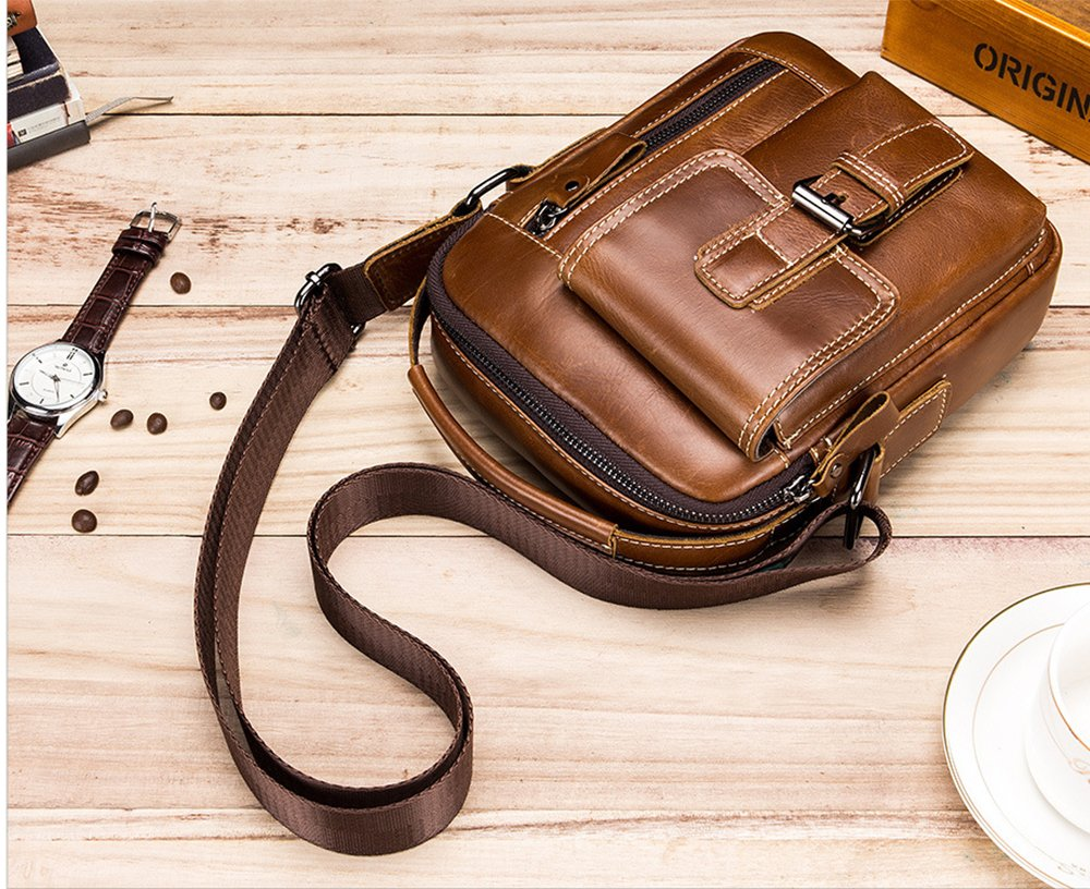 J.Market Genuine Leather Crossbody Bag Small Satchel Messenger Bag Vintage Shoulder Bag for Outdoor Bike Cycling Hiking Hip Bag