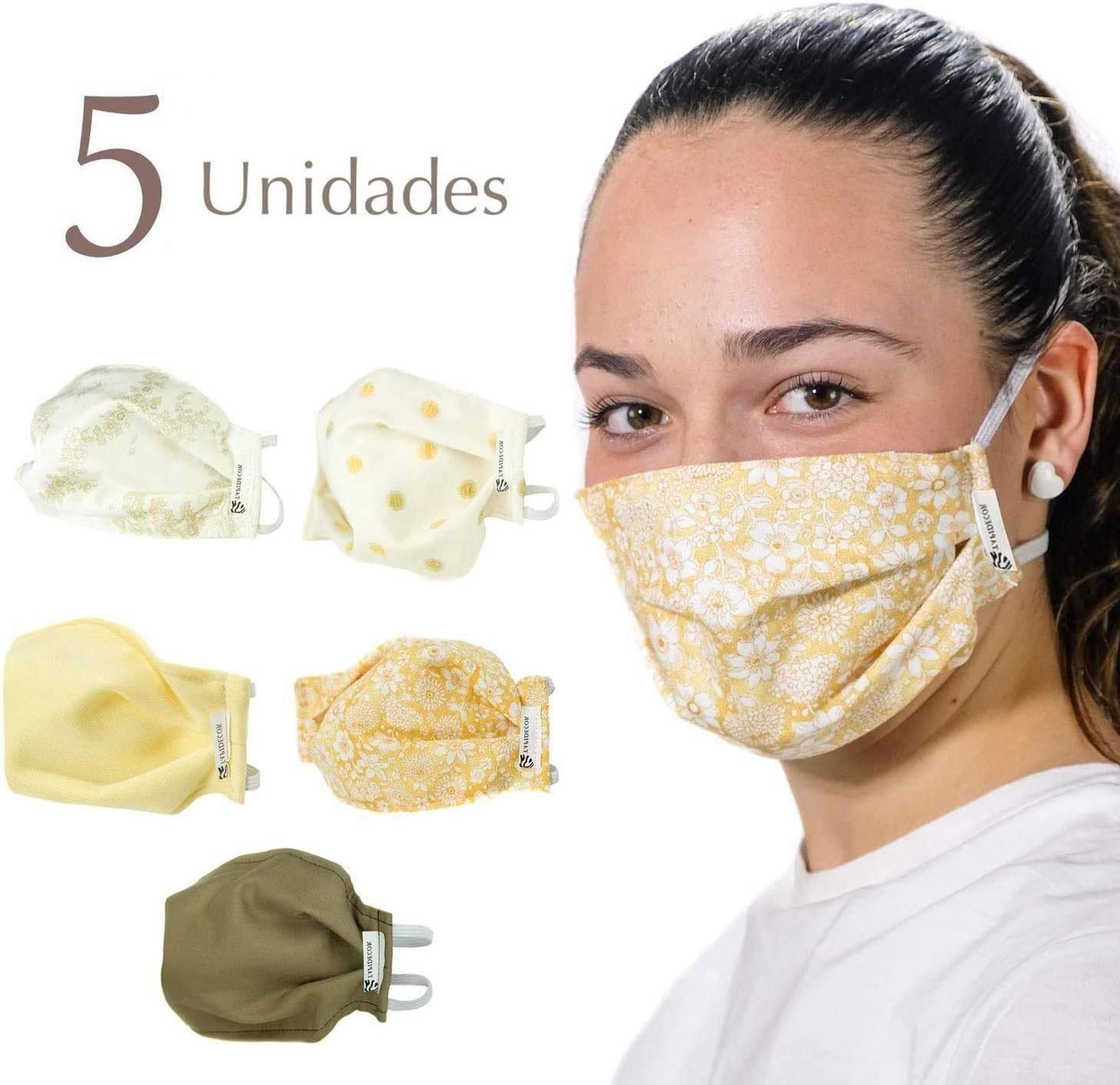 PACK 5 MASCARILLAS TELA LAVABLES REUTILIZABLES YELLOW PARTY 3 CAPAS ALGODON DOBLE AJUSTE ELASTICO VARIOS COLORES
