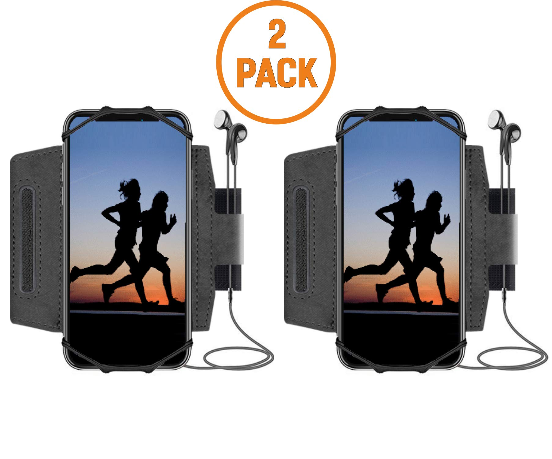 Sports Running Armband for All Phones: iPhone X XR XS Max 8 Plus 7 Plus 6, Samsung Galaxy A8 S9 S8 S6 Edge, LG, HTC, Pixel; 180° Rotatable Cell Phone Holder for Men & Women + Extender Strap Free