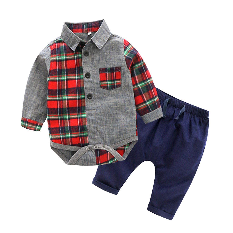 CHIC-CHIC Grenouillère Barboteuse Pantalon Chemise Vêtement Ensemble Bébé Fille Garçon Enfant Casual Souple
