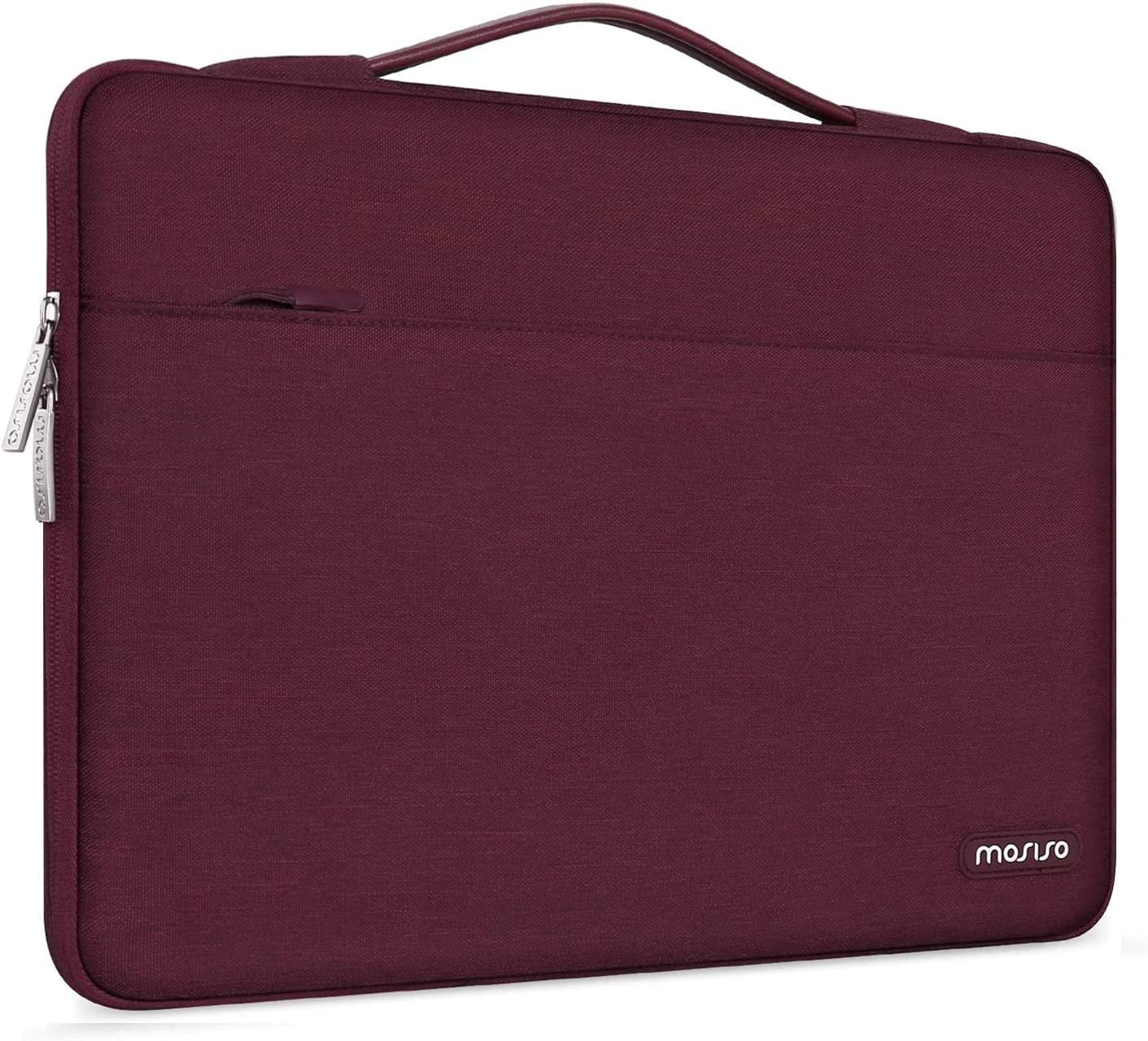 MOSISO Laptop Sleeve 360 Protective Case Bag Compatible with 13-13.3 inch MacBook Pro, MacBook Air, Notebook Computer, Polyester Briefcase with Trolley Belt, Wine Red