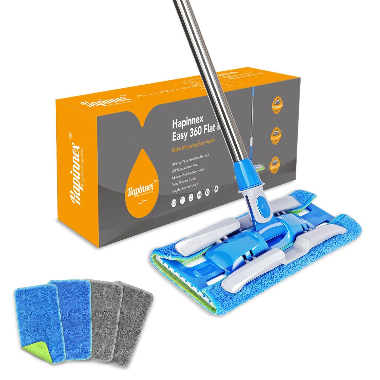 Wet or Dry Usage on Hardwood HAPINNEX Hardwood Dust Microfiber Floor Mop For Home Kitchen Bathroom Cleaning 4 Washable /& Reusable Microfiber Flat Mop Cloths//Pads Laminate /& Tile