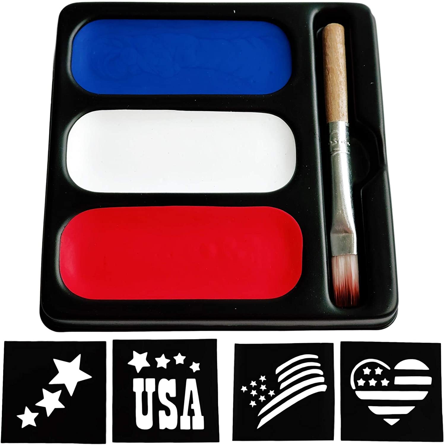 USA Colors Face Paint Palette - Blue Red & White Makeup (3 Paints, Brush & Stencils) Painting Kit For America's Patriotic Events 4th of July, Independence Day, Veterans Day, Presidents Day - Non-Toxic