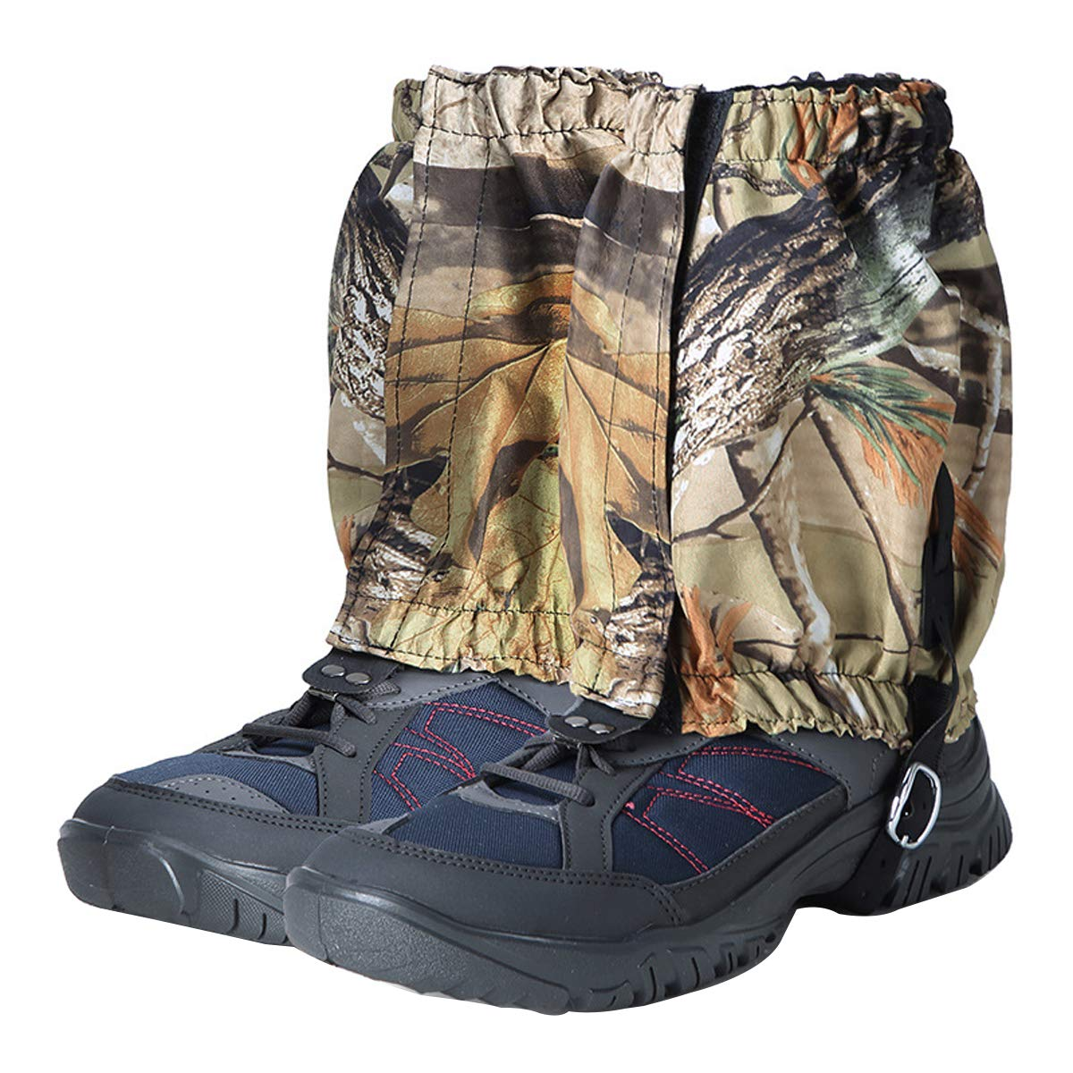 UNISTRENGH Outdoor Camouflage Waterproof Leg Shoes Gaiters Breathable Legging Cover Snow Boot Gaiter for Mountain Exploration Hiking Climbing Hunting (2019New Short-Style Dead-Leaf Camouflage)