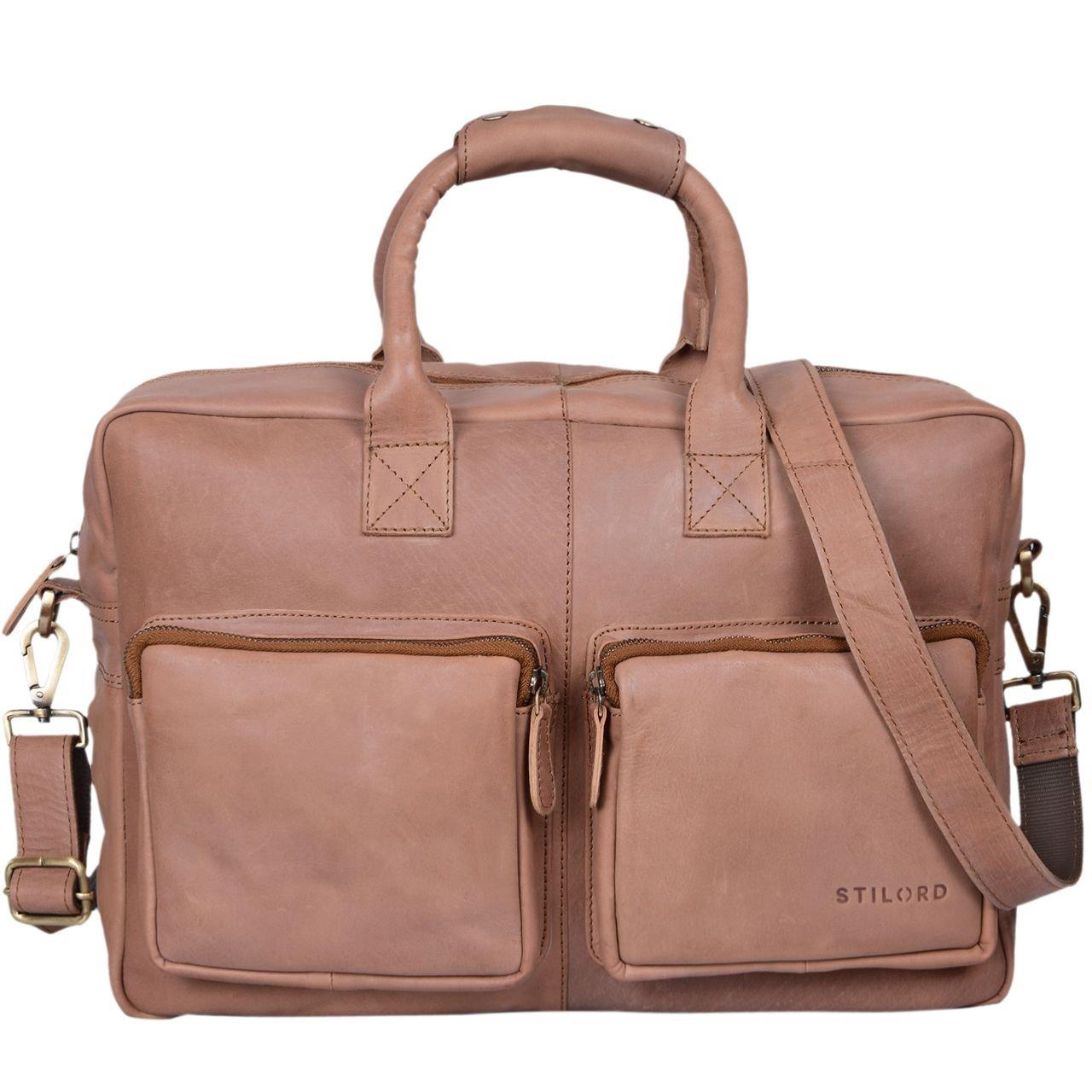 STILORD 'Henri' Bürotasche Leder 15,6 Zoll Vintage Laptop Aktentasche Businesstasche Umhängetasche Lehrertasche Büffelleder, Farbe:antik - braun