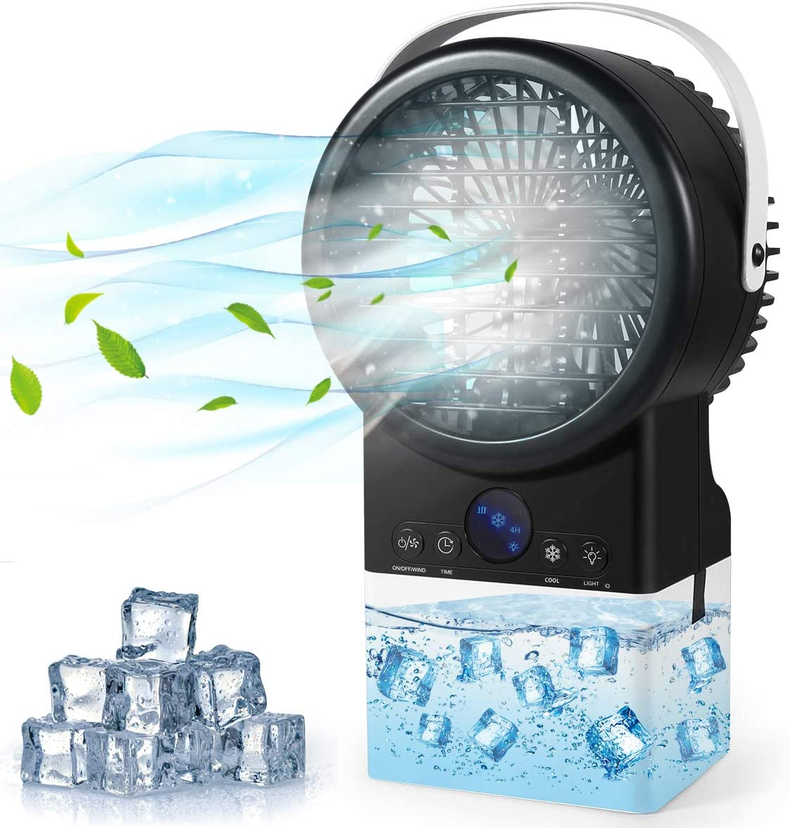 Portable Air Conditioner Fan, Personal Evaporative Air Cooler Super Quiet Desk Fan Air Cooler with 7 Colors LED Light, 3 Speeds, 4 in 1 Timing Air Humidifier Misting Fan for Home Office Room