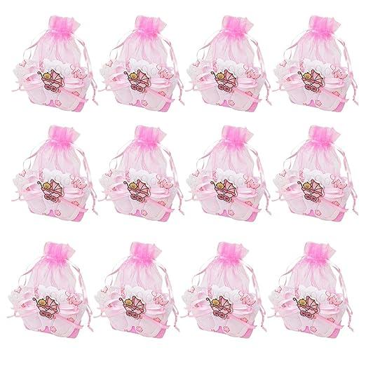 12 Bolsa Regalo Bautizo niña,Color Rosa,Arpillera y Organza ...