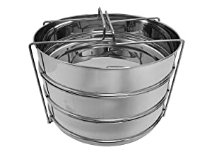 6 Quarts STEAMER INSERT Pan for IP ELECRIC PRESSURE COOKER or REGULAR PRESSURE COOKER ACCESSORIES With 3 insert pans & Vent Holes to Equalize Steam - Cook Vegetables, Meat, Fish, Rice