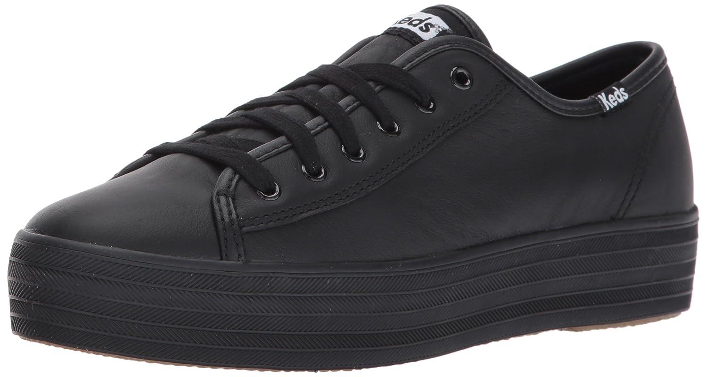 Keds Women's Triple Kick Leather Fashion Sneaker B01N2XTM44 8.5 M US|Black/Black